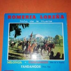 Discos de vinilo: ROMERIA LOREÑA. NIÑO DE LA HUERTA. ODEON 1963. Lote 247073990