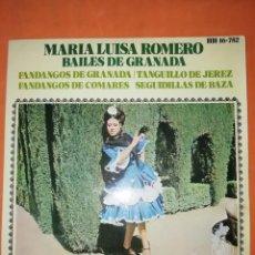 Discos de vinilo: MARIA LUISA ROMERO. BAILES DE GRANADA. HISPAVOX 1970. Lote 247082400