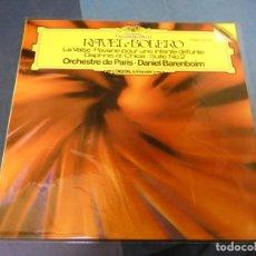 Discos de vinilo: EXPRO LP DEUSTCHE GRAMOPHON RAVEL BOLERO DANIEL BARENBOIM BUEN ESTADO. Lote 247232665