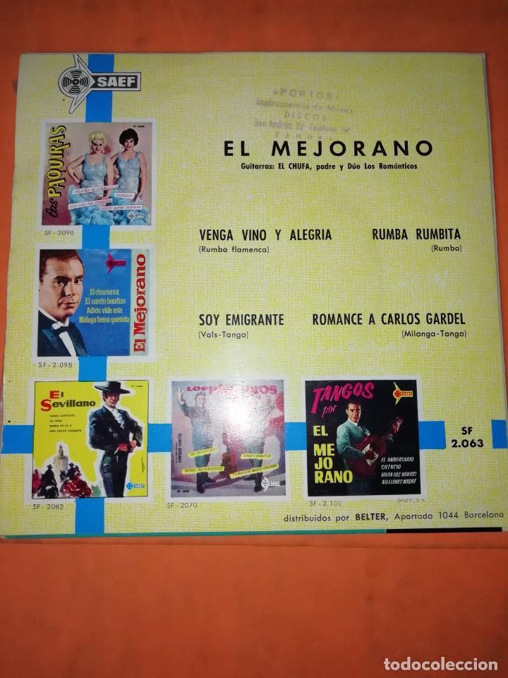 Discos de vinilo: EL MEJORANO. VENGA VINO Y ALEGRIA. SAEF 1961 - Foto 2 - 247298845