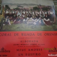 Discos de vinilo: CORAL DE RUADA DE ORENSE (ISOLINO CANAL) ALBORADA EP - ORIGINAL ESPAÑOL - ALHAMBRA RECORDS -. Lote 247303935