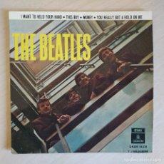 Discos de vinilo: THE BEATLES - I WANT TO HOLD YOUR HAND + 3 RARO EP SPAIN 1964 DOBLE REFERENCIA EN ESTADO COMO NUEVO. Lote 247357245