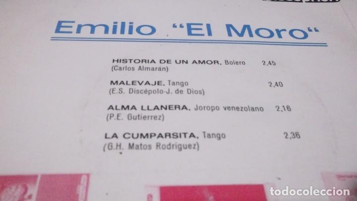 Discos de vinilo: EMILIO EL MORO - HISTORIA DE UN AMOR /MALEVAJE /ALMA LLANERA /CUMPARSITA - EP 1968 - Foto 3 - 247450705