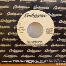 Discos de vinilo: THIS IS A PRESENCE? - BRASS BEAT (SINGLE) + 1 - CONTRASEÑA RECORDS (1993). Lote 247517220