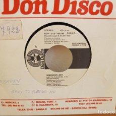 Discos de vinilo: UNKNOWN ART - EASY TO PLEASE ME - DON DISCO (1987) - PROMOCIONAL - UN SOLO TEMA.. Lote 247518965