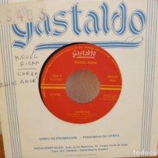 Discos de vinilo: MIGUEL RIERA - CARIÑO MIO + ES UN JUEGO QUIZÁS - DISCOS GASTALDO (1988). Lote 247528075