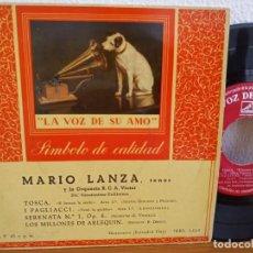 Discos de vinilo: MARIO LANZA - TOSCA + 3 - LA VOZ DE SU AMO (1959). Lote 247591580