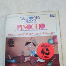 Discos de vinilo: WALT DISNEY PRESENTA EL CUENTO DE PINOCHO, VINILO EP, 1967 ( CONTIENE LIBRILLO DEL CUENTO ). Lote 247618600