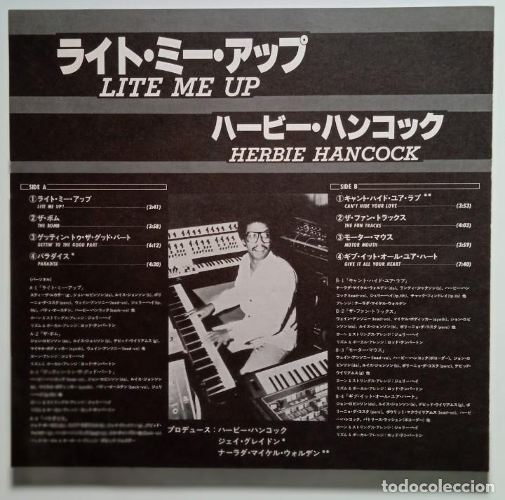 Discos de vinilo: Herbie Hancock – Lite Me Up Japan,1982 CBS/Sony - Foto 3 - 247624490