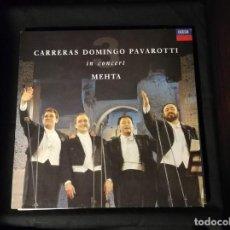 Discos de vinilo: LP- CARRERAS DOMINGO PAVAROTTI -IN CONCERT- MEHTA-AÑO 1990-CON ENCARTE Y CANCIONERO. Lote 248014125