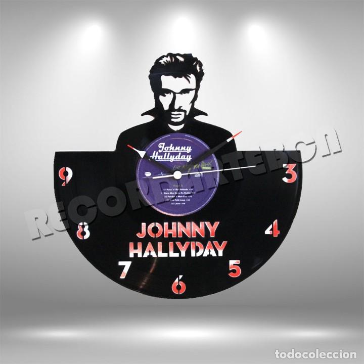RELOJ DE DISCO LP DE JOHNNY HALLYDAY (Música - Discos de Vinilo - EPs - Rock & Roll)
