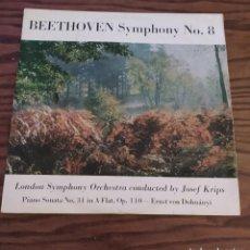 Discos de vinilo: DISCO LP DE VINILO (UK ENGLAND) BEETHOVEN SINFONÍA 8, LONDON SYMPHONY ORCHESTRA, JOSEF KRIPS. Lote 248243255