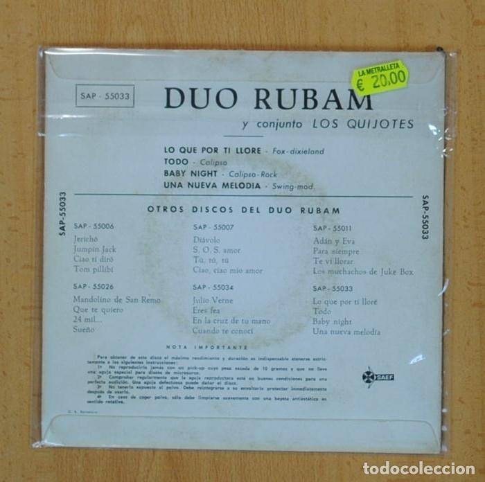 Discos de vinilo: DUO RUBAM Y CONJUNTO LOS QUIJOTES - LO QUE POR TI LLORE + 3 - EP - Foto 3 - 122096636