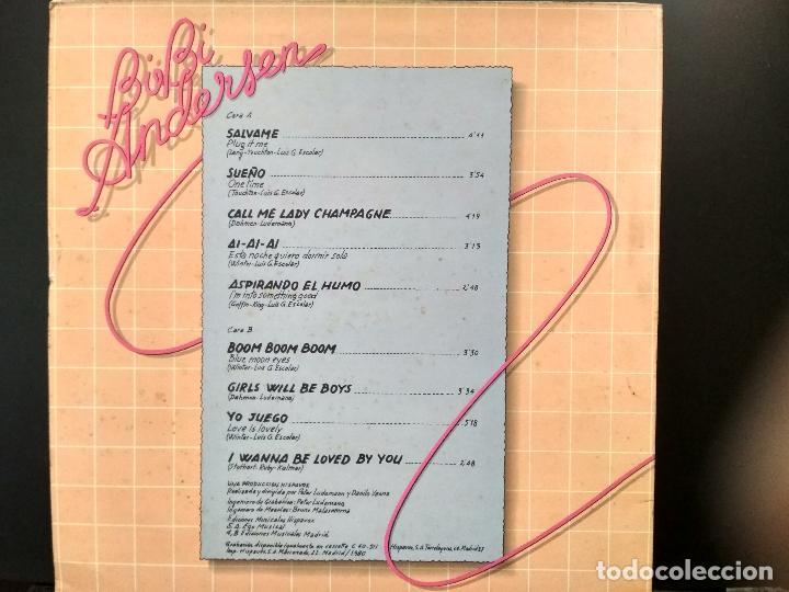 Discos de vinilo: BIBI ANDERSEN LP 1980 MOVIDA POP SALVAME hispavox PEPETO - Foto 2 - 248416785