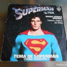 Discos de vinilo: SUPERMAN - EL FILM BANDA SONORA ORIGINAL -, SG, TEMA DE SUPERMAN + 1, AÑO 1978. Lote 248451010
