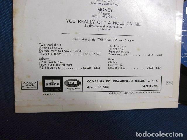 Discos de vinilo: BEATLES SINGLE EP EDITADO POR EMI ODEON ESPAÑA ORIGINAL EPOCA 1964 MUY BUENA CONSERVACION - Foto 6 - 248500340