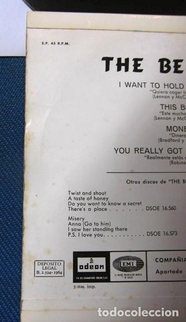Discos de vinilo: BEATLES SINGLE EP EDITADO POR EMI ODEON ESPAÑA ORIGINAL EPOCA 1964 MUY BUENA CONSERVACION - Foto 7 - 248500340