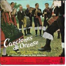 Discos de vinilo: CORAL DE RUADA DE ORENSE - FOLIADA DE SAN XUSTO + PANDEIRADA DE ARES + CANTIGA EP SPAIN 1959. Lote 248641365