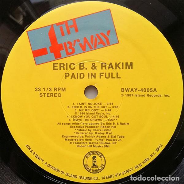 Discos de vinilo: Eric B. & Rakim – Paid In Full -LP- - Foto 3 - 261565850