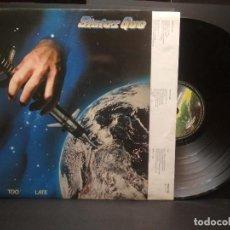 Discos de vinilo: STATUS QUO - NEVER TOO LATE- LP VERTIGO 1981 ED. ESPAÑOLA 6302 104 CON ENCARTE LETRAS PEPETO. Lote 248833125