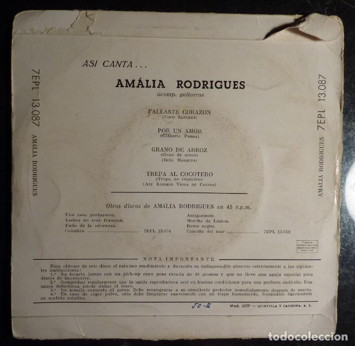 Discos de vinilo: AMALIA RODRIGUES // FALLASTE CORAZON+3 // EP - Foto 2 - 249046160