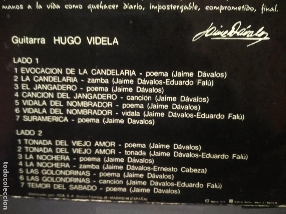 Discos de vinilo: JAIME DAVALOS POEMAS Y CANCIONES LP MICROTON 1974 PEPETO - Foto 3 - 249076720