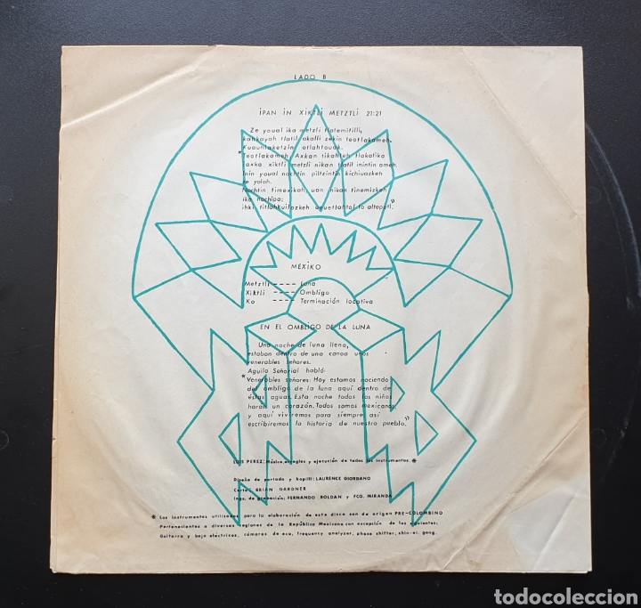 Discos de vinilo: LP LUIS PEREZ & MEXICO MAGICO COSMICO - En el ombligo de la luna (México - ISSSTE/Privado - 1981) - Foto 8 - 249199450