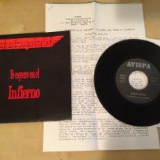 "Discos de vinilo: BARON ROJO - TE ESPERO EN EL INFIERNO - RADIO SINGLE 7"" - INCLUYE NOTA DE PRENSA 1992 AVISPA. Lote 249375725"