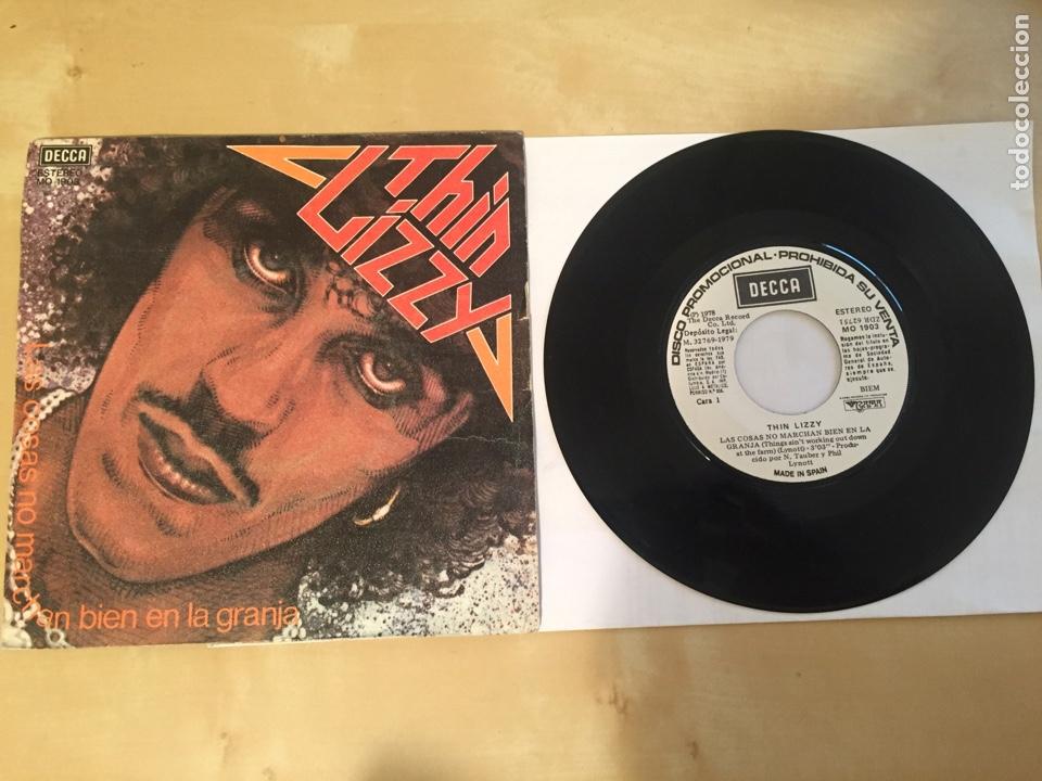 """THIN LIZZY - LAS COSAS NO MARCHAN BIEN EN LA GRANJA - RADIO SINGLE PROMO 7"""" - 1979 DECCA (Música - Discos - Singles Vinilo - Heavy - Metal)"""