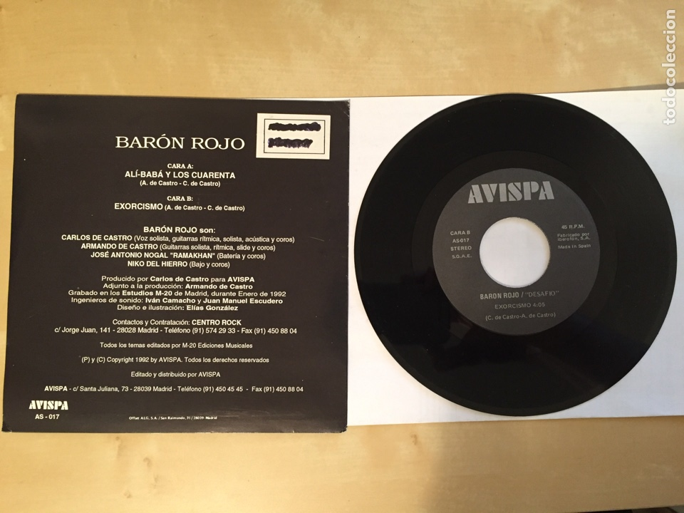 """Discos de vinilo: Baron Rojo - Desafío - SINGLE 7"""" PROMO - 1992 - Foto 3 - 249549340"""