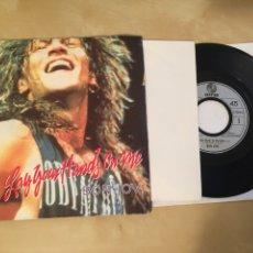 "Discos de vinilo: BON JOVI - LAY YOUR HANDS ON ME (LIMITED EDITION POSTER BAG) - SINGLE 7"" - 1989 POSTER 40X40CM RARO. Lote 249577980"