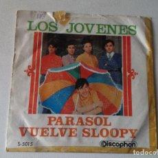 Discos de vinilo: SINGLE LOS JOVENES : PARASOL + VUELVE SLOOPY MIRAR FOTOS. Lote 250161605