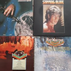 Discos de vinilo: LOTE 3LPS.STATUS QUO.NEVER TOO LATE.BEE GEES STAYING ALIVE.RICK WAKEMAN LIVE.1974. Lote 250286880