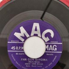 Disques de vinyle: LUCHO MACEDO Y SU SONORA - PAN CON SARDINA/EL CHACHACHA DE LOS MOZOS (1962?, MAG, PERÚ). Lote 250303900