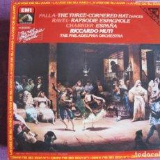 Disques de vinyle: LP - RICCARDO MUTTI, PHILADELPHIA ORQ. - FALLA, RAVEL, CHABRIER (SPAIN, EMI LA VOZ DE SU AMO 1981). Lote 251629375