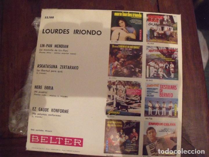 Discos de vinilo: LOURDES IRIONDO EP BELTER 1968 NERE ERRIA + 3 - Foto 2 - 251746860