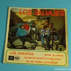 Discos de vinilo: LOS SALVAJES. LAS OVEJITAS. ROSA DE PAPEL. ES MEJOR DEJARLO COMO ESTÁ. NO ME PUEDO CONTROLAR. Lote 251787270