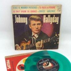 Discos de vinilo: EP JOHNNY HALLYDAY EDITADO EN ESPAÑA VINILO VERDE C'EST LE MASHED POTATOES/TU PEUX LA PENDRE/IL FAUT. Lote 251847660