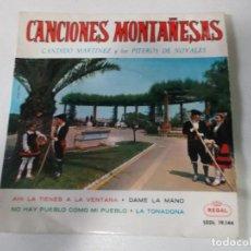 Discos de vinilo: CANCIONES MONTAÑESAS,CANDIDO MARTINEZ Y LOS FITEROS DE NOVALES, 1958. Lote 251883320