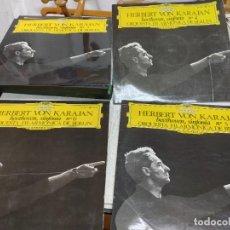 Discos de vinilo: 4 LP HERBERT VON KARAJAN ORQUESTA FILARMONICA BERLIN BEETHOVEN SINFONIAS 3-4-5-6. BUEN ESTADO. Lote 251935835