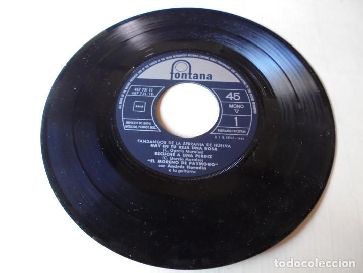 SINGLE EL MORENO DE PAYMOGO FANDANGOS DE LA SERRANIA,HAY EN TU REJA UNA ROSA,DEL 1962,SOLO SINGLE (Música - Discos - Singles Vinilo - Flamenco, Canción española y Cuplé)