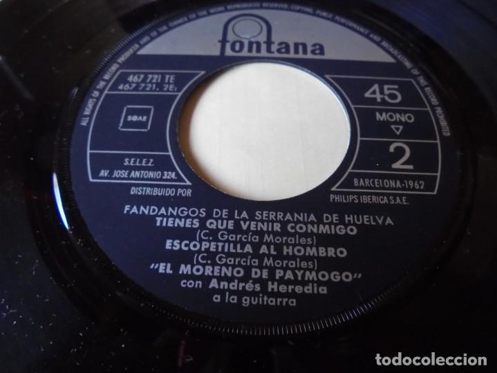 Discos de vinilo: single el moreno de paymogo fandangos de la serrania,hay en tu reja una rosa,del 1962,solo single - Foto 3 - 252155015
