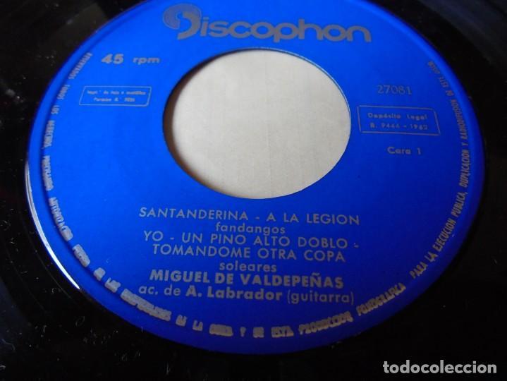 Discos de vinilo: single miguel de valdepeñas santanderina,un pino alto doblo,tomandome otra copa 1962,solo single - Foto 2 - 252155720