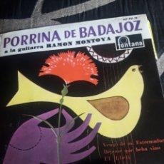 Discos de vinilo: ANTIGUO VINILO DE PORRINA DE BADAJOZ, A ESTRENAR. Lote 252480345