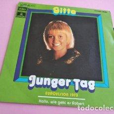 Discos de vinilo: GITTE (EUROVISION 1973) - JUNGER TAG + HALLO, WIE GEHT ES ROBERT SINGLE VINILO 1973 SPAIN. Lote 252613690