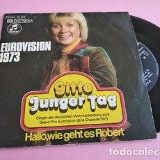 Discos de vinilo: GITTE (EUROVISION 1973)-JUNGER TAG + HALLO, WIE GEHT ES ROBERT SINGLE VINILO 1973. Lote 252613810