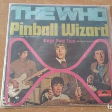 Discos de vinilo: SINGLE THE WHO PINBALL WIZARD DOGS PART II POLYDOR AÑO 1969 FIRMADO DALTREY ?. Lote 252658315