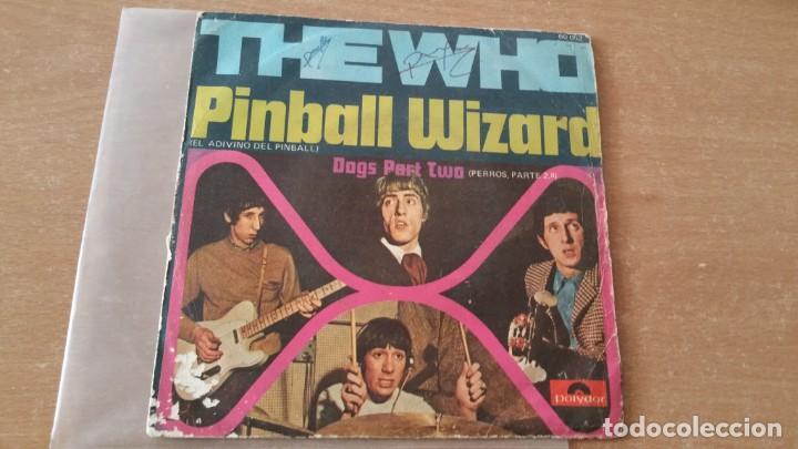 Discos de vinilo: Single THE WHO PINBALL WIZARD DOGS PART II POLYDOR AÑO 1969 FIRMADO DALTREY ? - Foto 2 - 252658315