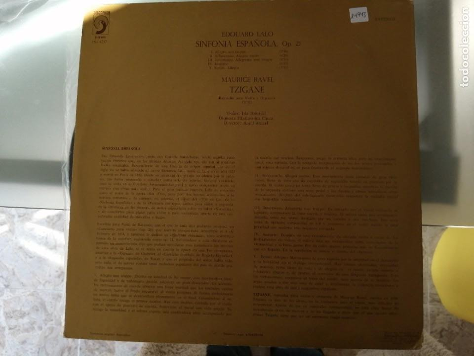 Discos de vinilo: EDUARDO LALO - SINFONIA ESPAÑOLA OP. 21 - Foto 2 - 252659780