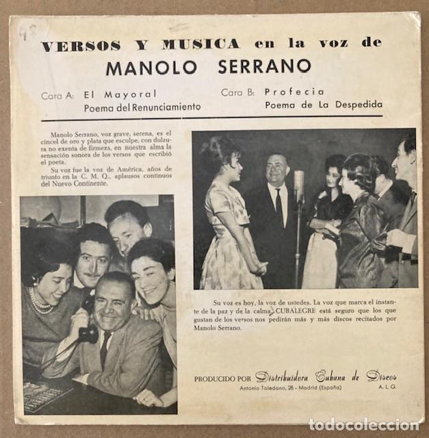 Discos de vinilo: MANOLO SERRANO - VERSOS Y MÚSICA - CUBALEGRE - Foto 2 - 252682620